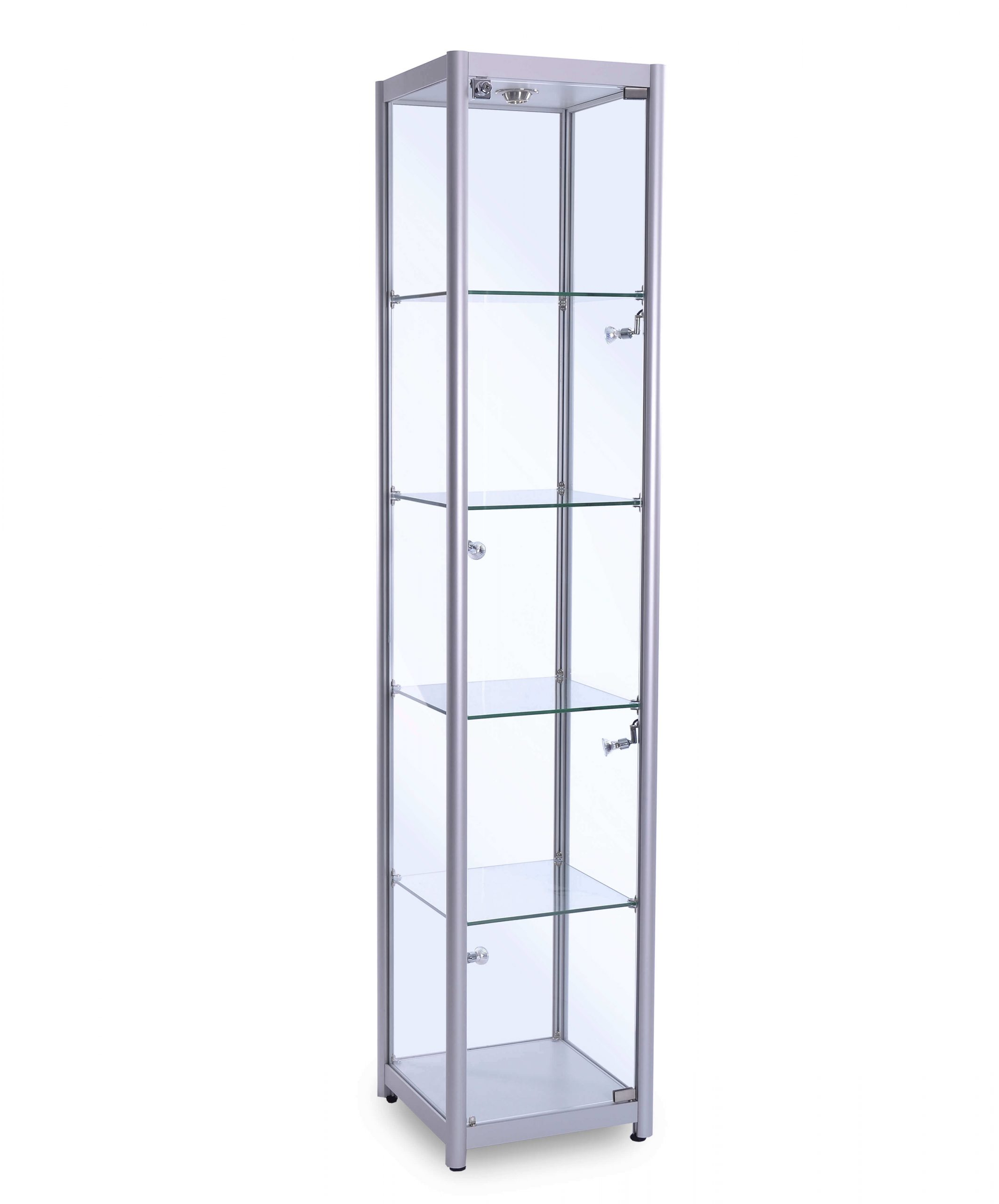 Tall Glass Cabinet (400mm) Satin Silver